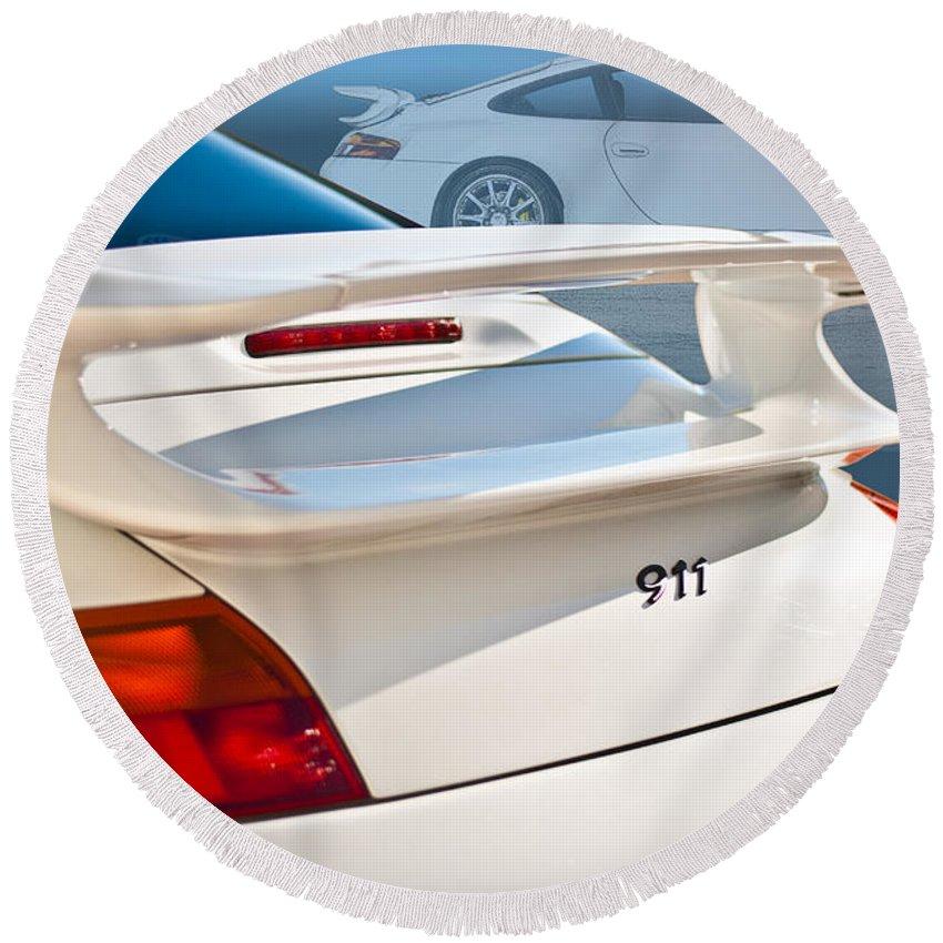 White Round Beach Towel featuring the photograph 911 Porsche 996 8 by Stuart Row