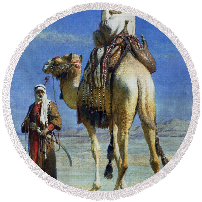 Orientalist; Bedouin; Wadi; Camel; Arab Round Beach Towel featuring the painting A Bedoueen Family In Wady Mousa Syrian Desert by Carl Haag