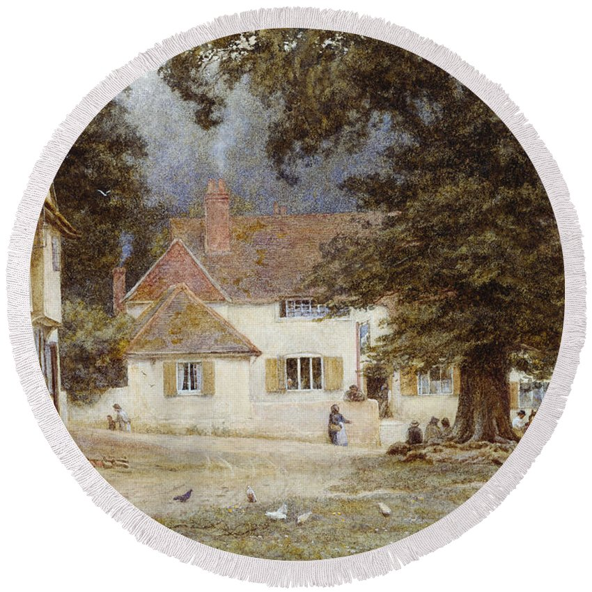 Landscape; English; Green; Pub; Public House; Rural; Victorian Round Beach Towel featuring the painting A Cart By A Village Inn by Helen Allingham
