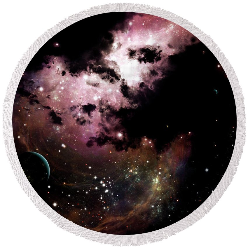 Artwork Round Beach Towel featuring the digital art A Cluster Of Bright Young Stars Tear by Brian Christensen