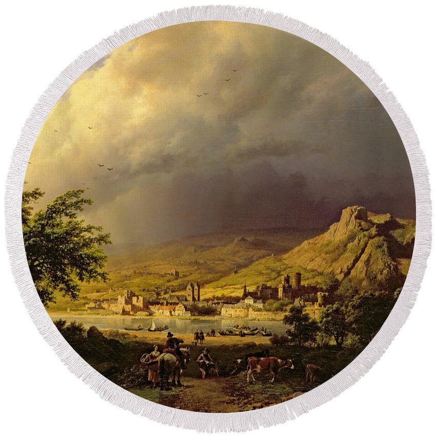 Landscape; Stormy; Weather; Mountain; Mountainous; River; Town; Riverbank; Cow; Horse; Storm Cloud; Tree; Trees Round Beach Towel featuring the painting A Coming Storm by Barend Cornelis Koekkoek