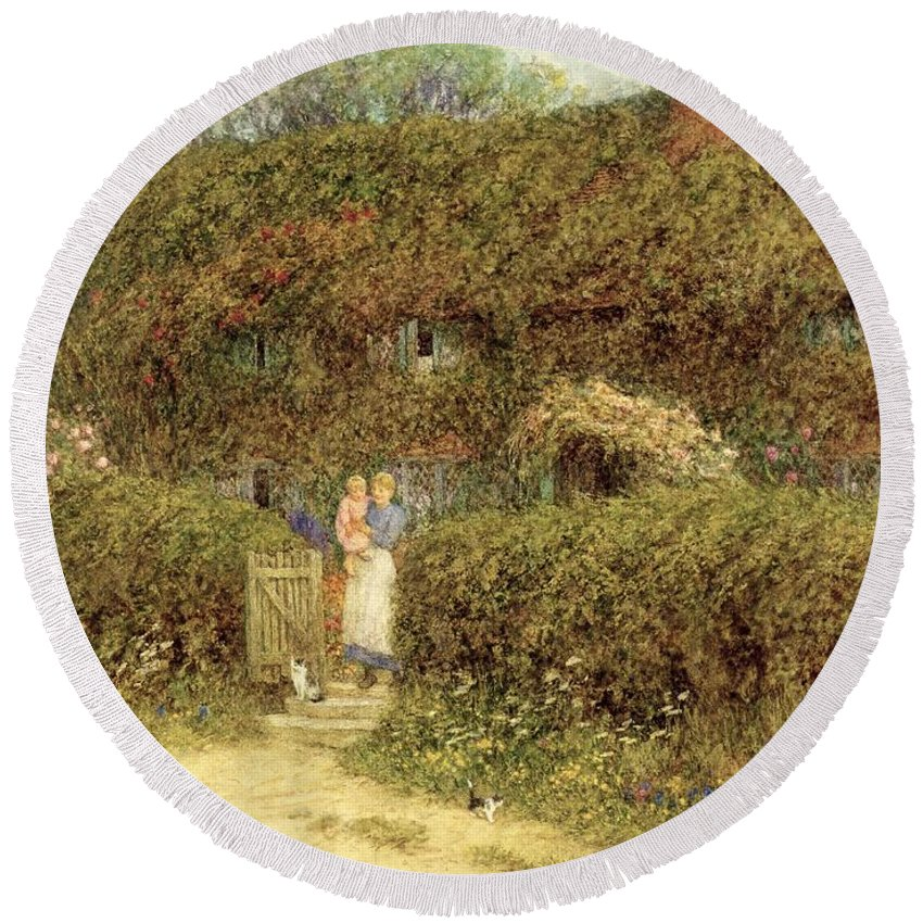 Mother And Child; Gate; Rural Scene; Country; Countryside; Home; Path; Garden; Wildflowers; Roses; Picturesque; Idyllic; Daughter; Cat; Vines; House; Female Round Beach Towel featuring the painting A Cottage At Freshwater Isle Of Wight by Helen Allingham