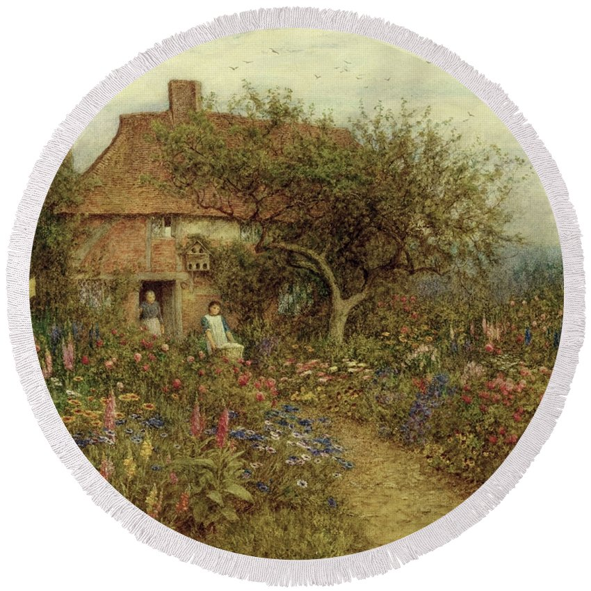 A Cottage Near Brook Round Beach Towel featuring the painting A Cottage Near Brook Witley Surrey by Helen Allingham