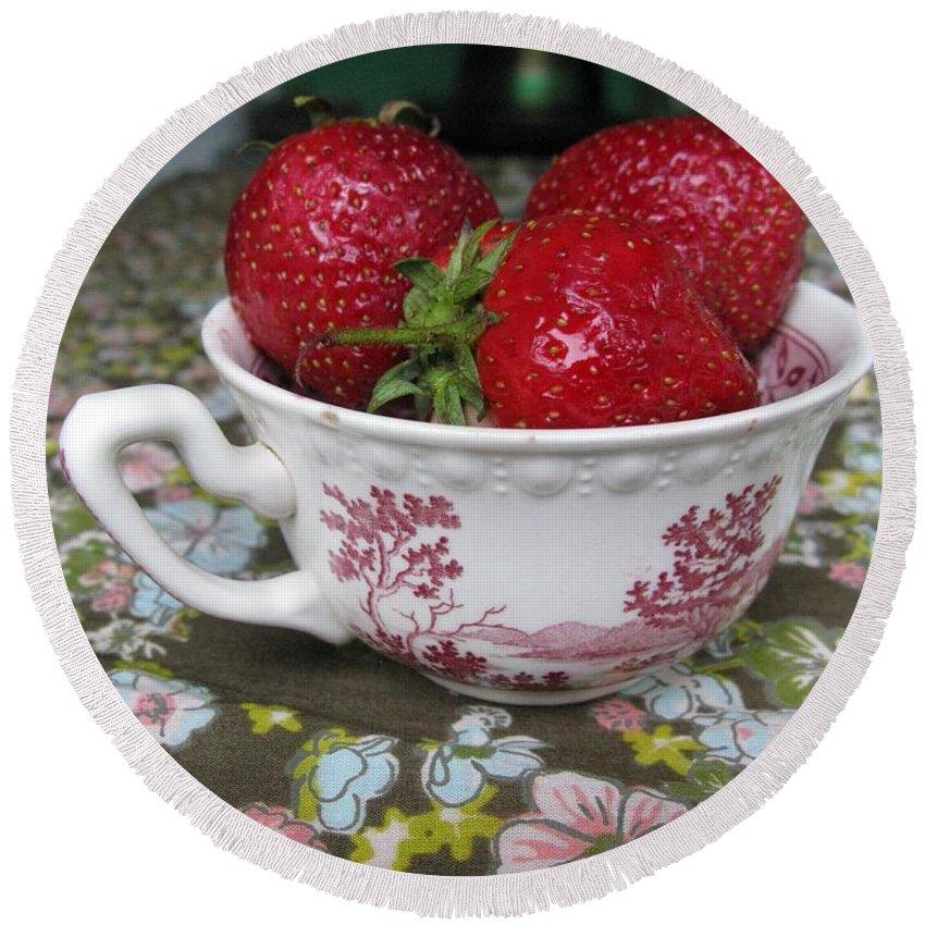 Garden Round Beach Towel featuring the photograph A Cup Of Strawberries by Ausra Huntington nee Paulauskaite