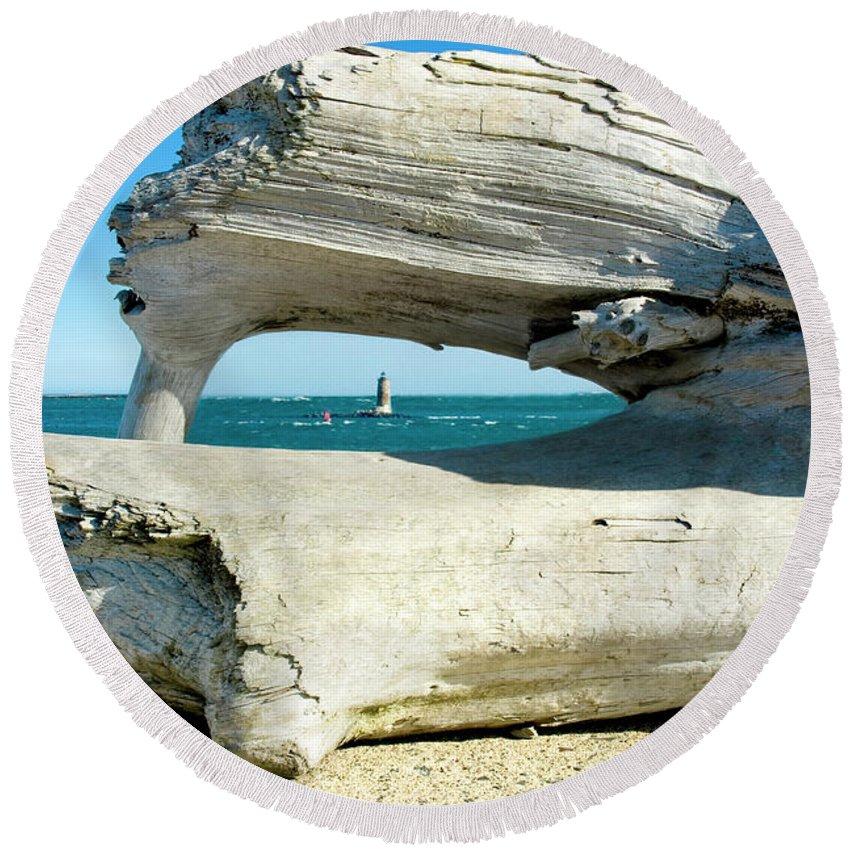 Drift Wood Round Beach Towel featuring the photograph A Drift by Greg Fortier