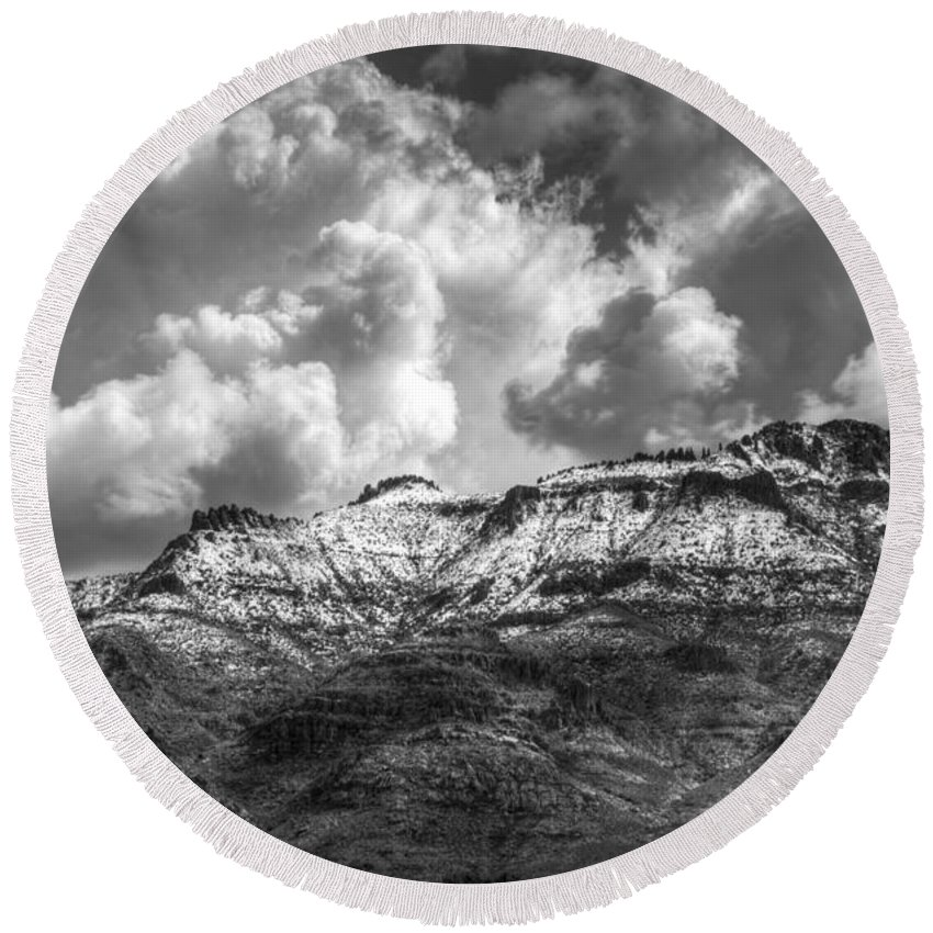 Superstition Mountains Round Beach Towel featuring the photograph A Dusting Of Snow by Saija Lehtonen