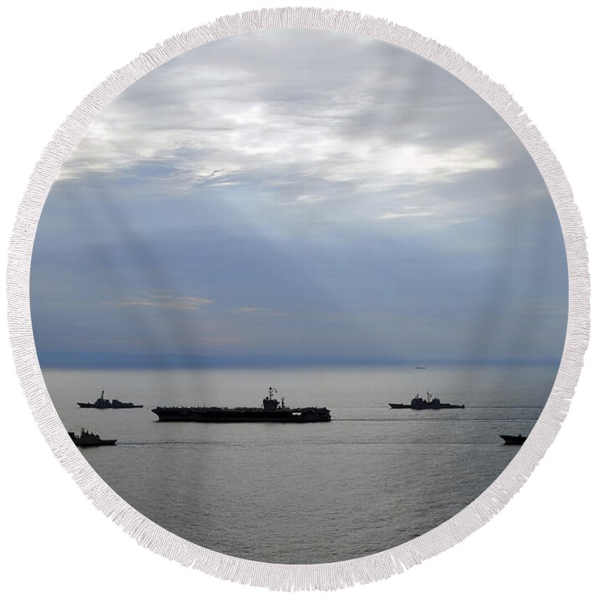 Korean Strait Round Beach Towel featuring the photograph A Fleet Of Multinational Navy Ships by Stocktrek Images