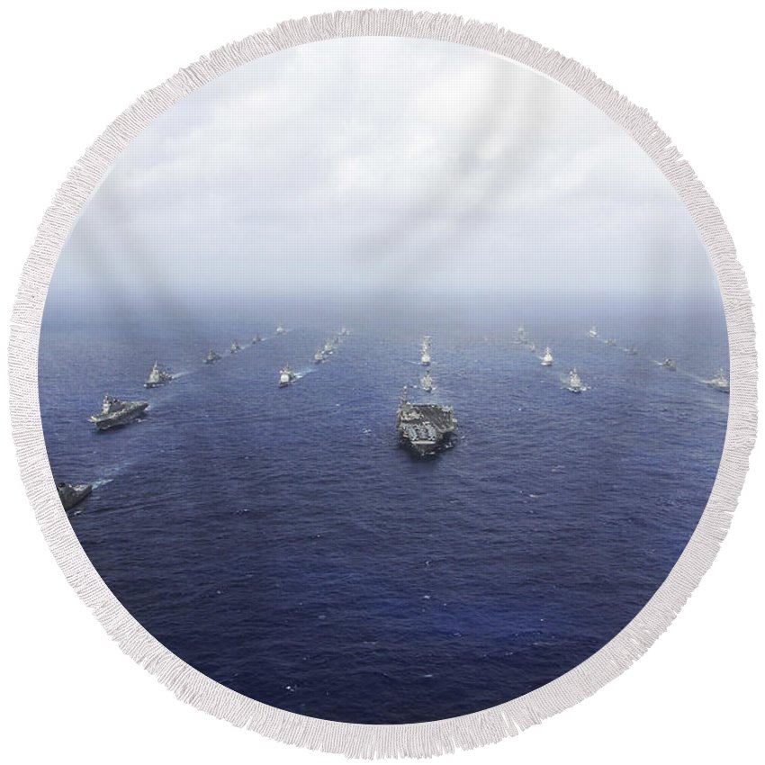 Foreign Military Round Beach Towel featuring the photograph A Fleet Of U.s. Navy And Japan Maritime by Stocktrek Images