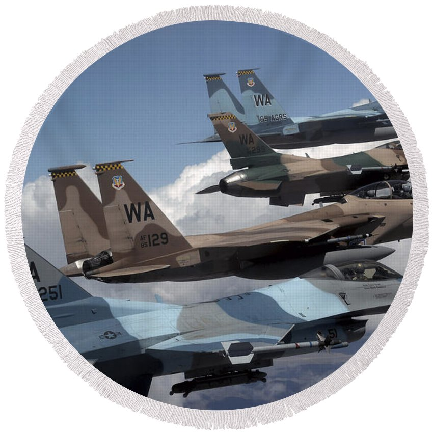 F-15 Round Beach Towel featuring the photograph A Flight Of Aggressor F-15 And F-16 by Stocktrek Images