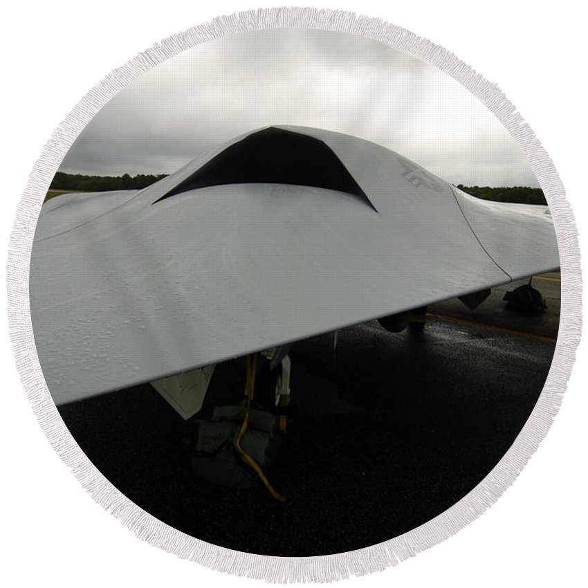 Unmanned Aerial Vehicles Round Beach Towel featuring the photograph A Full Scale Joint Unmanned Combat Air by Stocktrek Images