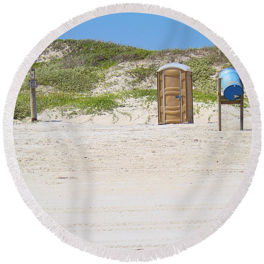 Roena King Round Beach Towel featuring the photograph A Full Service Beach by Roena King