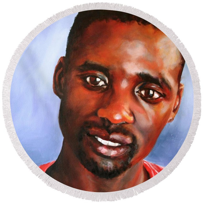 Male Portrait Round Beach Towel featuring the painting A Gentle Man by Jolante Hesse