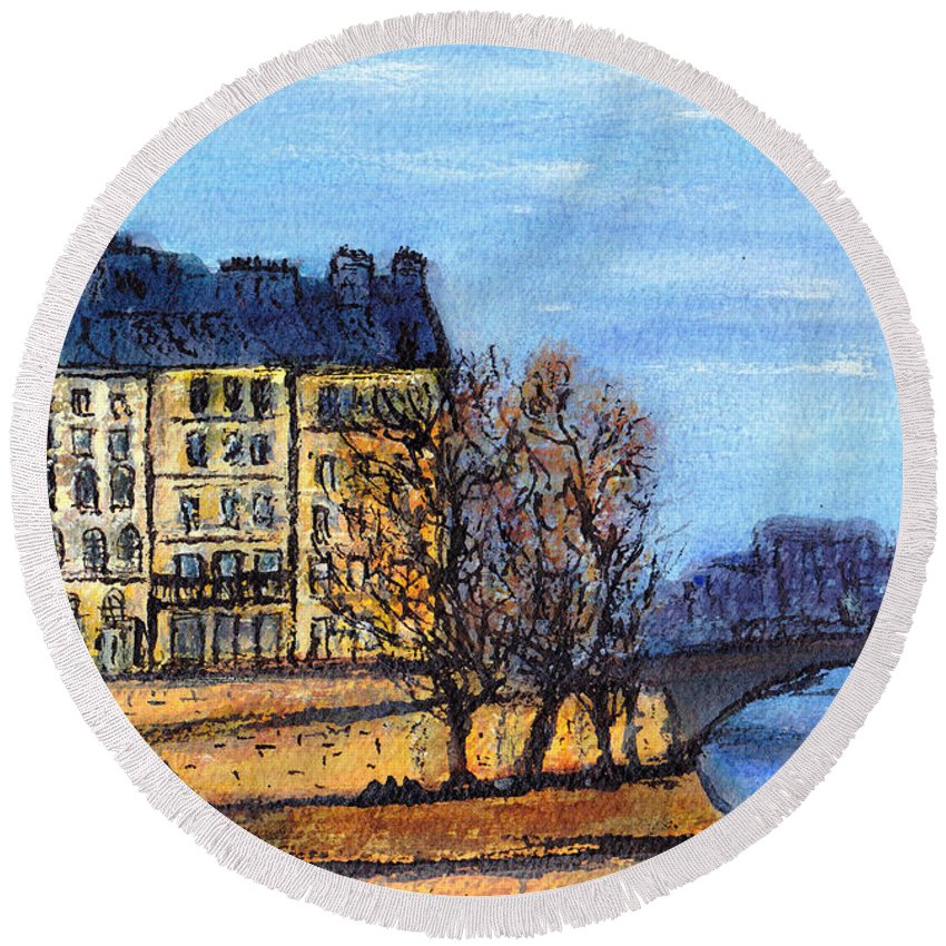 France Round Beach Towel featuring the painting A Glimpse Of Paris No 3 by Jackie Sherwood