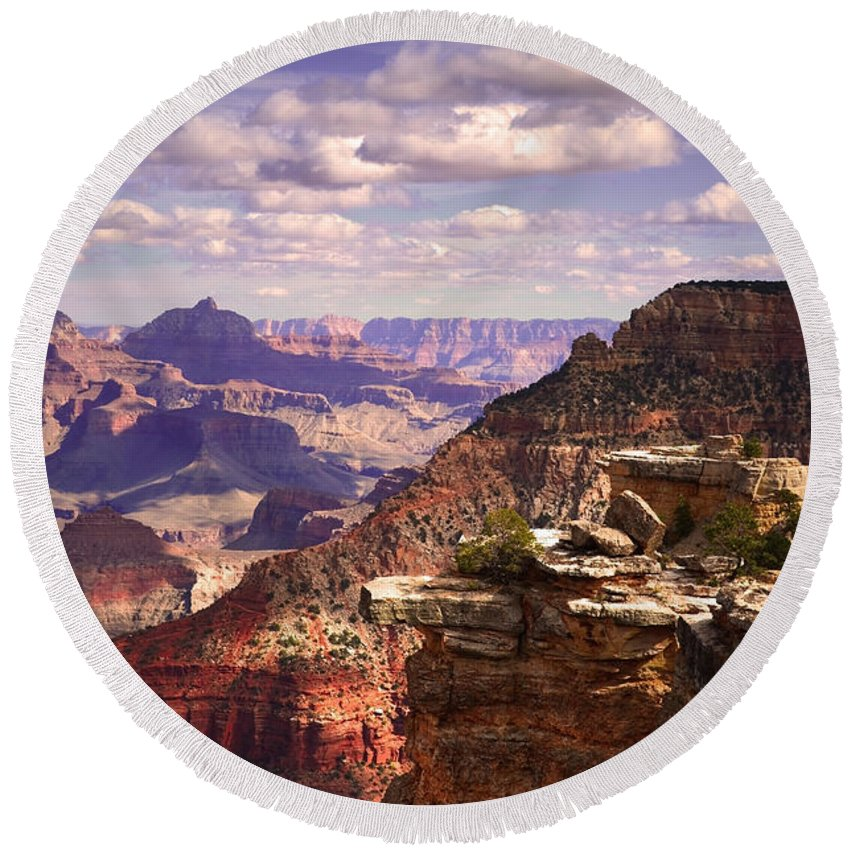 Grand Canyon Round Beach Towel featuring the photograph A Grand View by Tara Turner