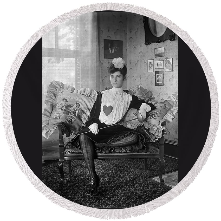 Woman Girl Female Heart Vintage Lady Fencer Salon Sofa Couch Sitting Black White Bw Round Beach Towel featuring the photograph A Heart For Love by Steve K