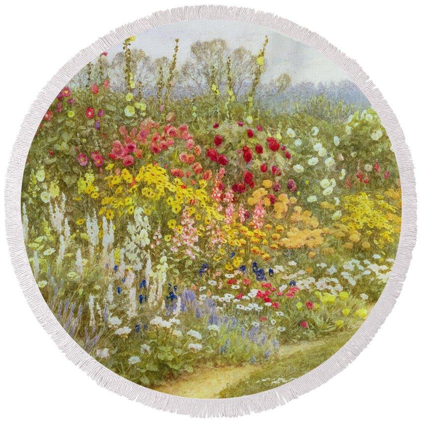 A Herbaceous Border Round Beach Towel featuring the painting A Herbaceous Border by Helen Allingham