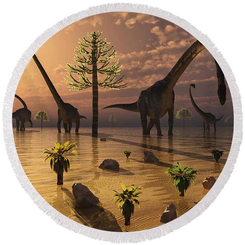 Horizontal Round Beach Towel featuring the digital art A Herd Of Omeisaurus Dinosaurs Grazing by Mark Stevenson