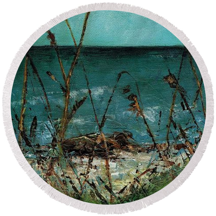 Pampas Grasses Round Beach Towel featuring the painting A Hot Wednesday Afternoon by Frances Marino