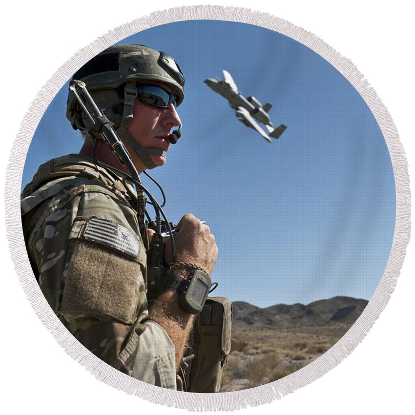 A-10 Thunderbolt Round Beach Towel featuring the photograph A Joint Terminal Attack Controller Uses by Stocktrek Images