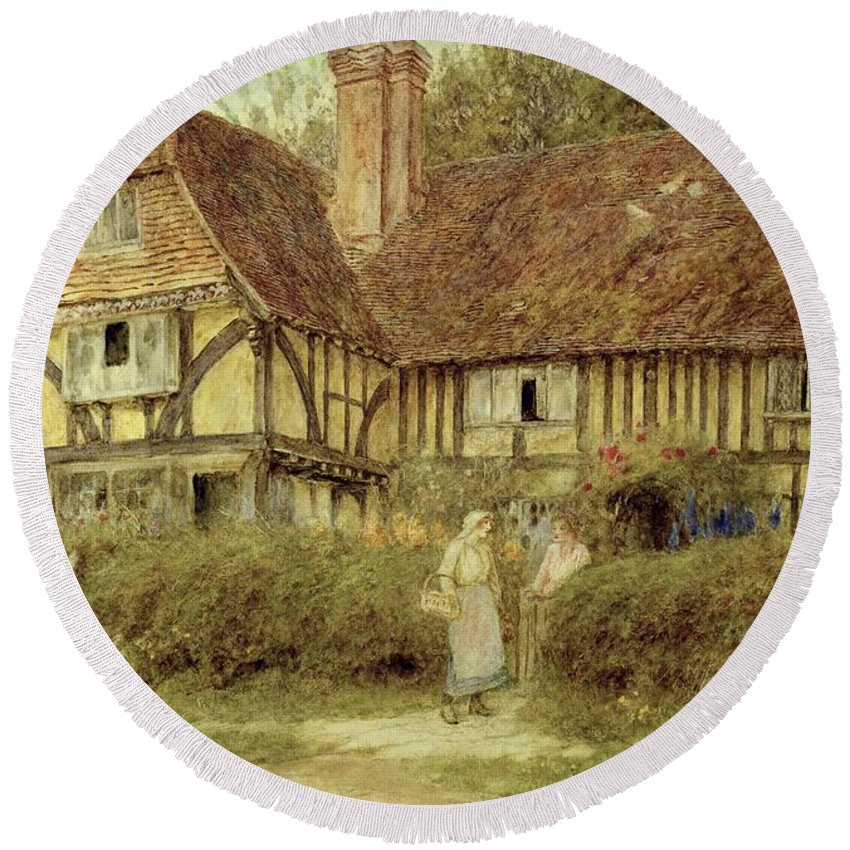 A Kentish Cottage Round Beach Towel featuring the painting A Kentish Cottage by Helen Allingham