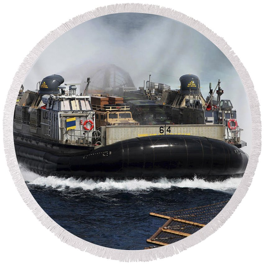 Navy Round Beach Towel featuring the photograph A Landing Craft Air Cushion Transits by Stocktrek Images