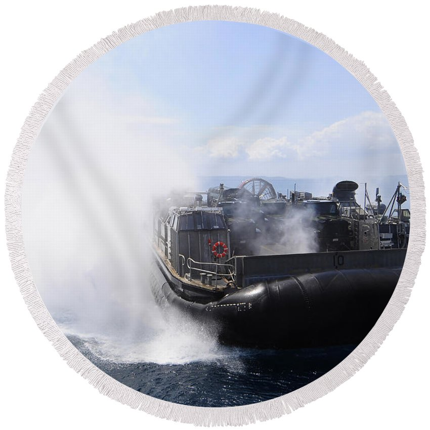 Us Navy Round Beach Towel featuring the photograph A Landing Craft Air Cushion Travels by Stocktrek Images