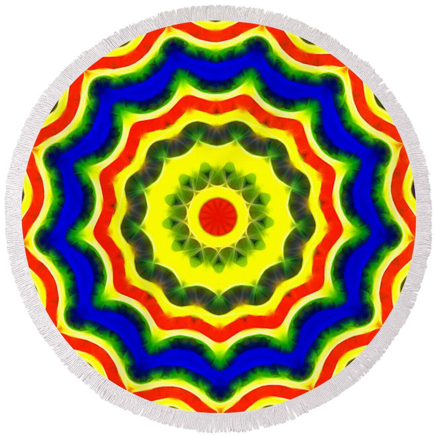 A Little Bit Of Everything Round Beach Towel featuring the digital art A Little Bit Of Everything by Mariola Bitner