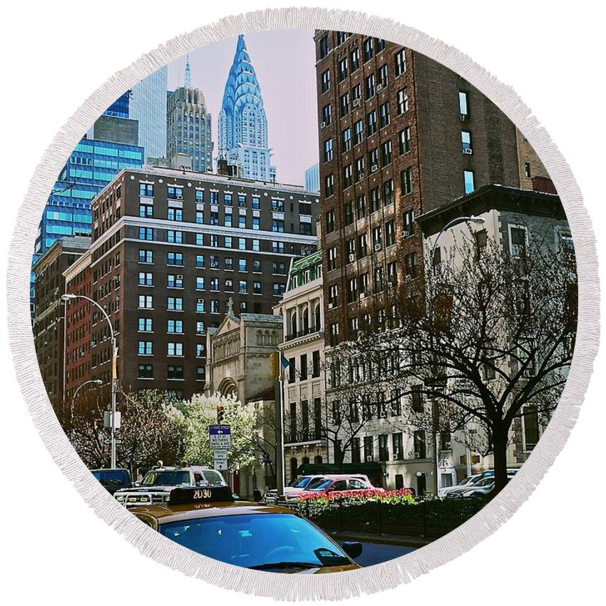 New York City Round Beach Towel featuring the photograph A Little Slice Of New York by Eric Tressler
