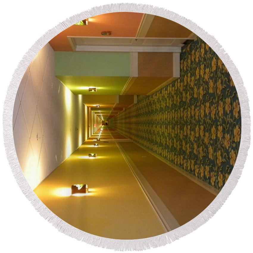 Hallway Round Beach Towel featuring the photograph A Long Hallway Flipped Sideways by Thomas Woolworth