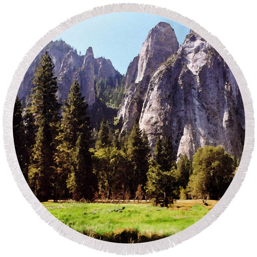 Yosemite Round Beach Towel featuring the photograph A Look Across The Meadow by Lydia Holly