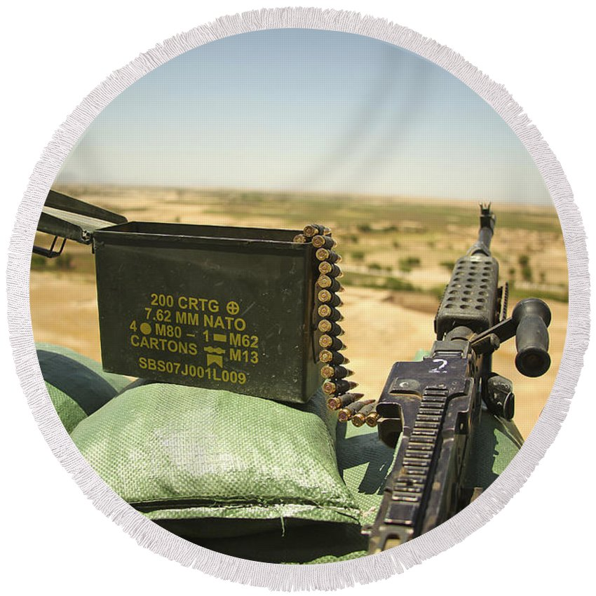 Afghanistan Round Beach Towel featuring the photograph A M240b Medium Machine Gun by Stocktrek Images