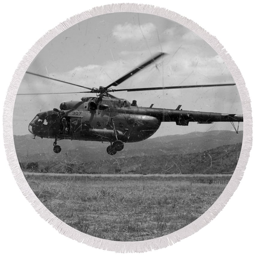 Medceur 2011 Round Beach Towel featuring the photograph A Macedonian Mi-17 Helicopter Landing by Stocktrek Images