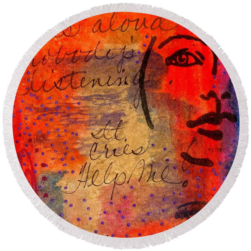 Woman Round Beach Towel featuring the mixed media A Mind Cries by Angela L Walker