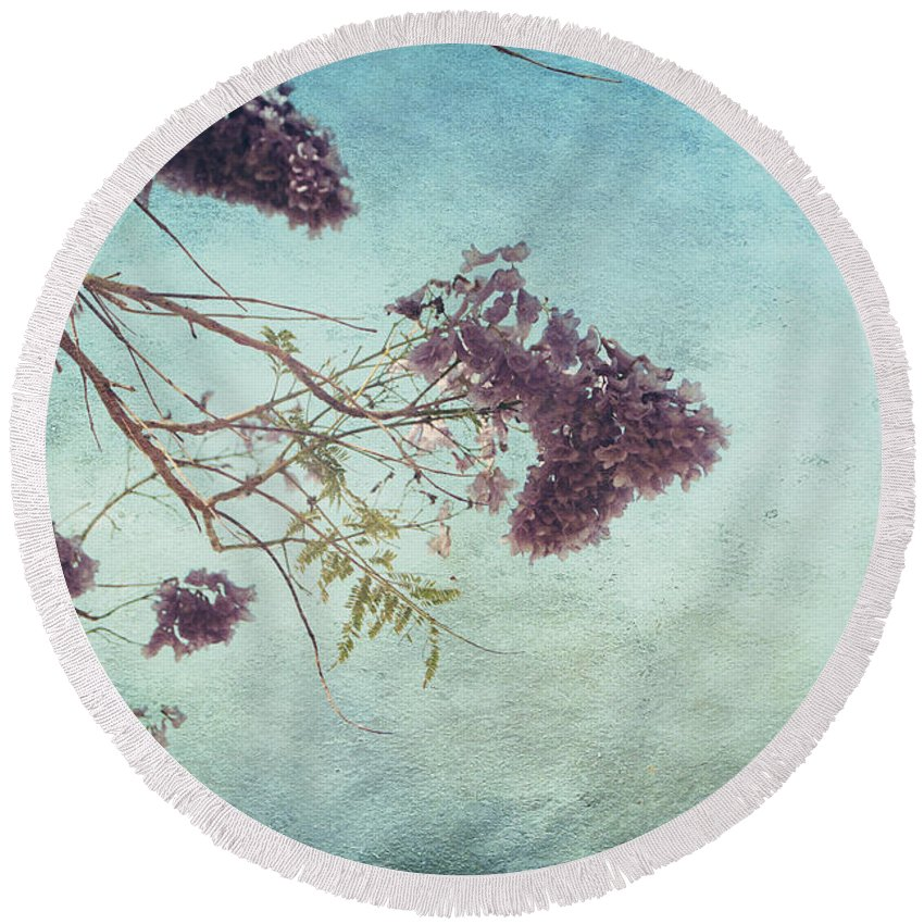 Trees Round Beach Towel featuring the photograph A Moment In The Soul Can Last Forever by Laurie Search