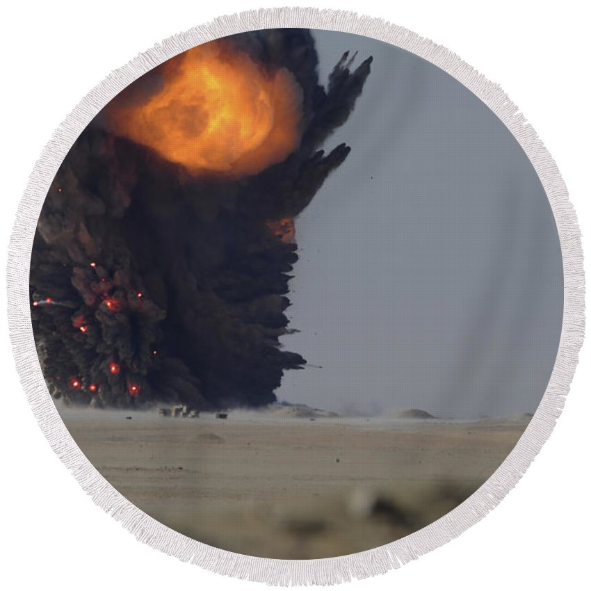 Kuwait Round Beach Towel featuring the photograph A Munitions Disposal Explosion by Stocktrek Images