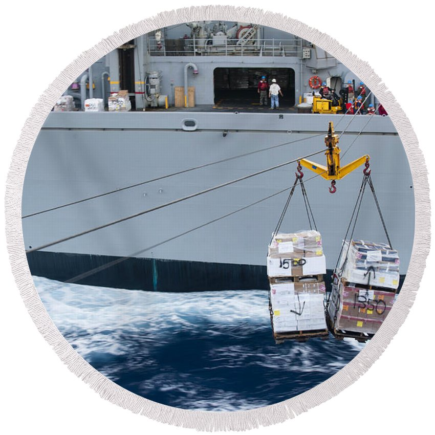 Uss New Orleans Round Beach Towel featuring the photograph A Pallet Of Supplies Being Delivered by Stocktrek Images