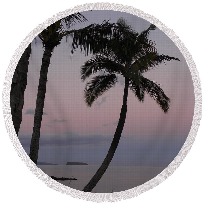 Palm Trees Round Beach Towel featuring the photograph A Peaceful Start by Peggy McDonald
