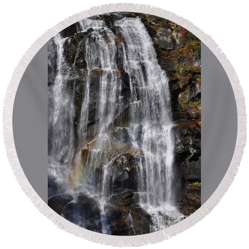 Whitewater Falls Round Beach Towel featuring the photograph A Piece Of Whitewater Falls by Lydia Holly