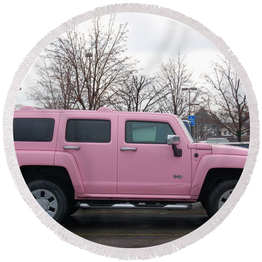 Pink Hummer Round Beach Towel featuring the photograph A Pink Hummer by Randy J Heath