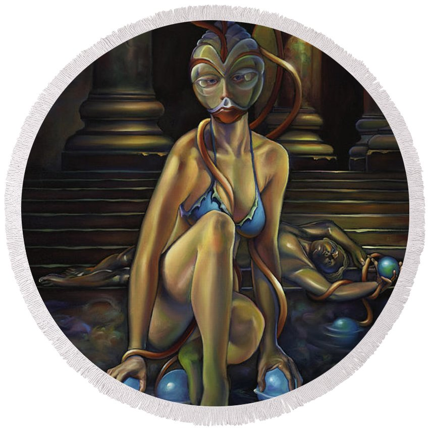 John Carter Round Beach Towel featuring the painting A Princess Of Mars by Patrick Anthony Pierson