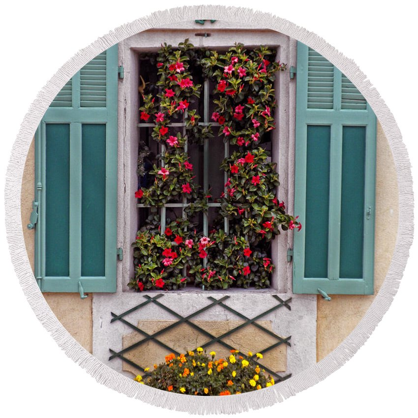 Window Round Beach Towel featuring the photograph A Provence Window by Dave Mills