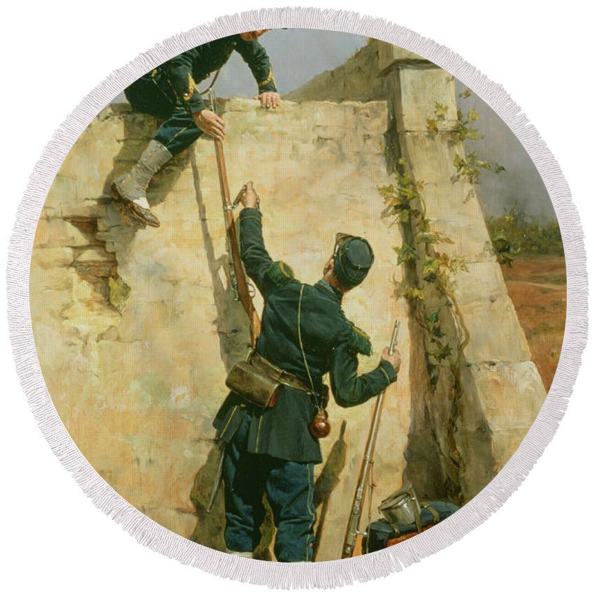 French Soldiers; Military; Rifle; Backpack; Climbing; Wall; Soldier; Uniform; Cap; Spats; Prison; Fleeing; Brothers In Arms; Fugitive; Army Round Beach Towel featuring the painting A Quick Escape by Etienne Prosper Berne-Bellecour