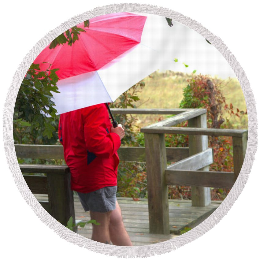 Rain Round Beach Towel featuring the photograph A Rainy Summer's Day by Karol Livote