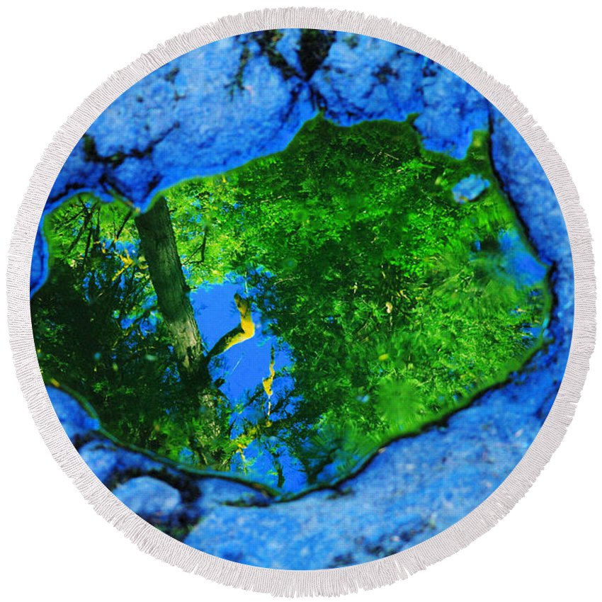 Trees Round Beach Towel featuring the photograph A Reflection In The Puddle by Jeff Swan
