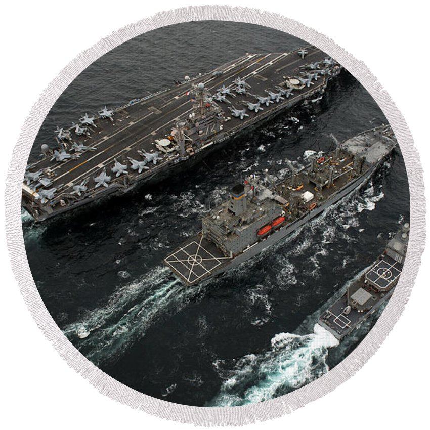 Us Navy Round Beach Towel featuring the photograph A Replenishment At Sea Between Uss by Stocktrek Images