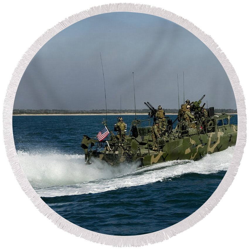 Military Round Beach Towel featuring the photograph A Riverine Command Boat During Exercise by Stocktrek Images