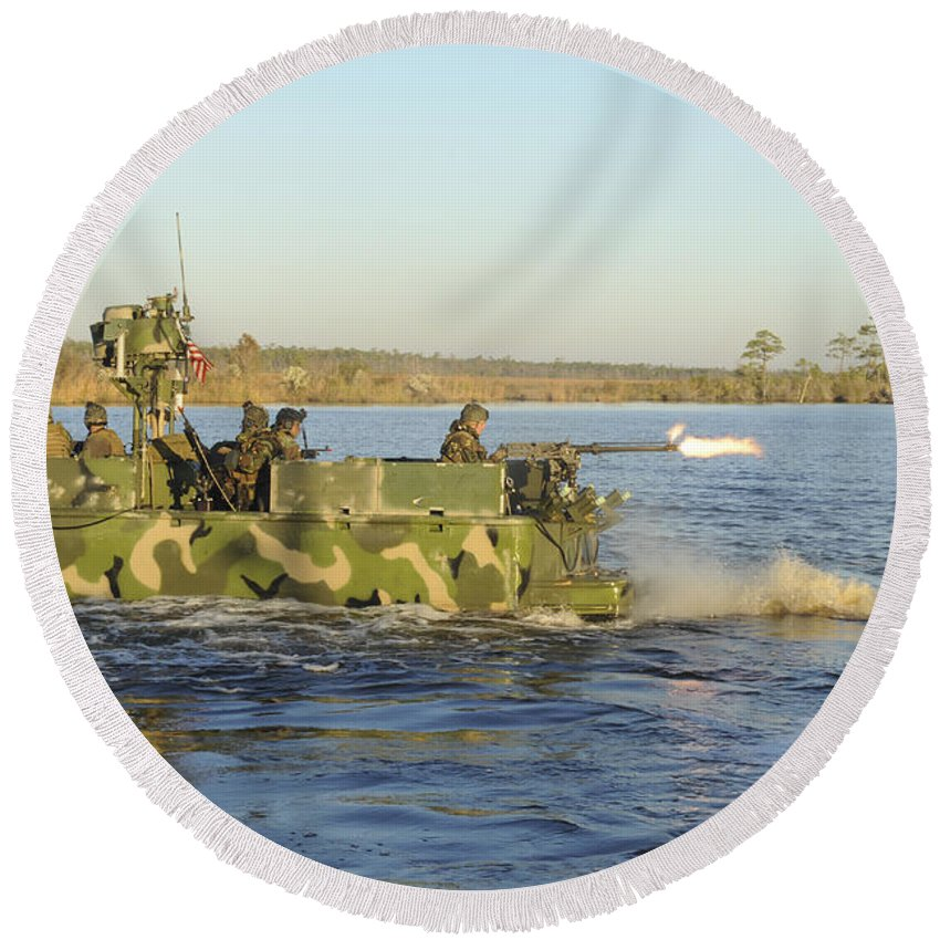 Virginia Round Beach Towel featuring the photograph A Riverine Squadron Maneuvers by Stocktrek Images