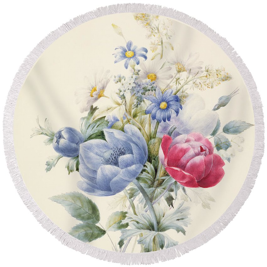 Flower Round Beach Towel featuring the painting A Rose Anemone Mignonette And Daisies by Nathalie d Esmenard