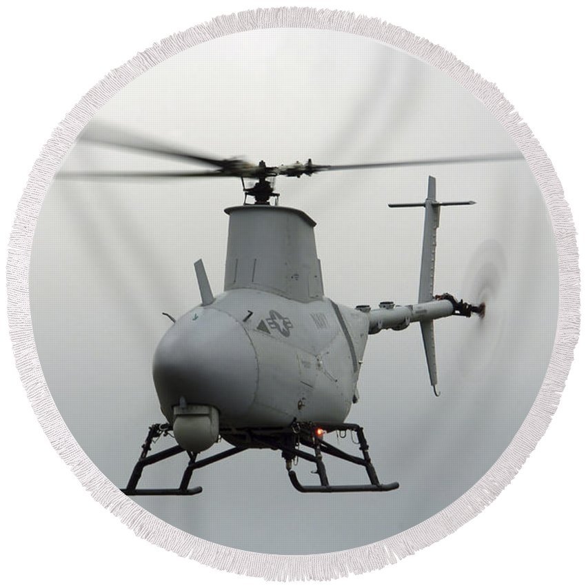 Saint Inigoes Round Beach Towel featuring the photograph A Rq-8a Fire Scout Unmanned Aerial by Stocktrek Images