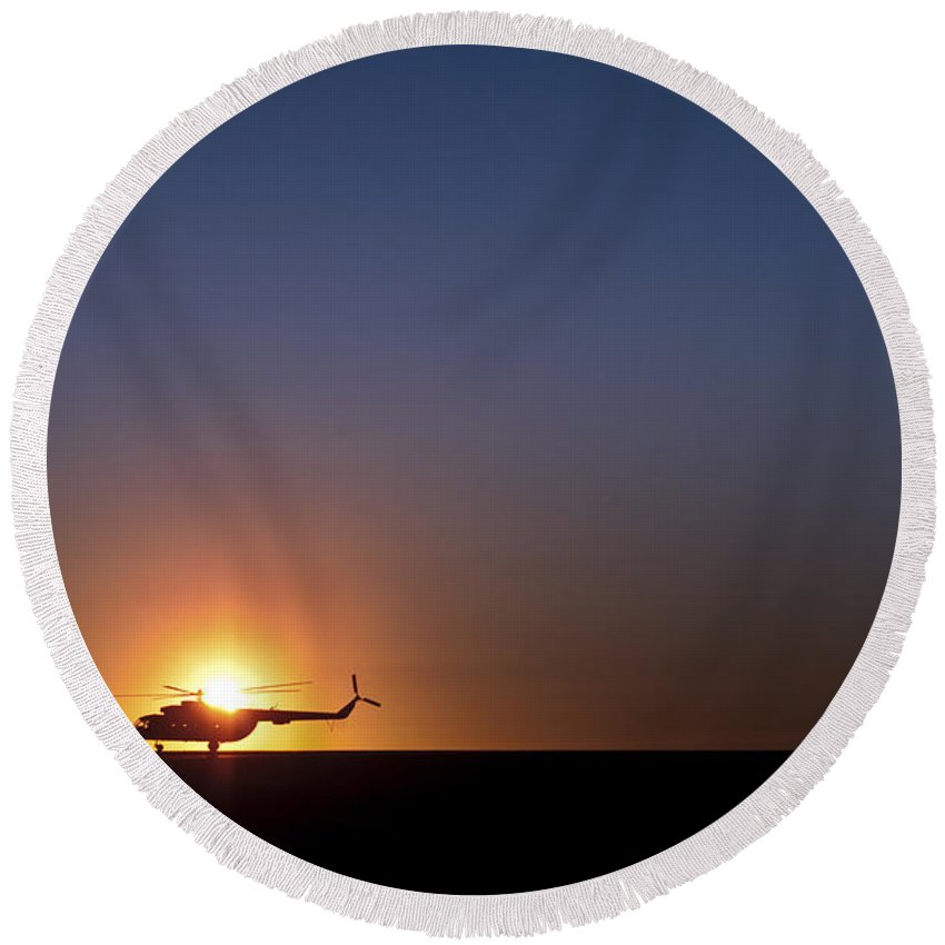Afghanistan Round Beach Towel featuring the photograph A Sikorsky S-61l Mk II Helicopter Taxis by Stocktrek Images